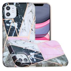 Pink and Black Painted Marble Electroplating Protective Case for iPhone 11 (6.1 inch)