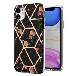 Black Rose Flower Marble Electroplating Protective Case Cover for iPhone 11 (6.1 inch)