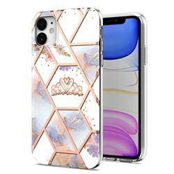 Crown Purple Flower Marble Electroplating Protective Case Cover for iPhone 11 (6.1 inch)