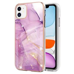 Dream Violet Electroplated Gold Frame 2.0 Thickness Plating Marble IMD Soft Back Cover for iPhone 11 (6.1 inch)
