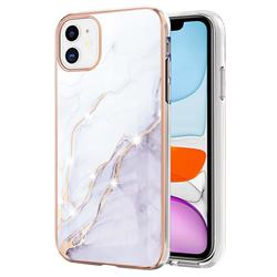 White Dreaming Electroplated Gold Frame 2.0 Thickness Plating Marble IMD Soft Back Cover for iPhone 11 (6.1 inch)