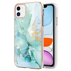 Green Silk Electroplated Gold Frame 2.0 Thickness Plating Marble IMD Soft Back Cover for iPhone 11 (6.1 inch)