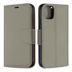 Classic Luxury Litchi Leather Phone Wallet Case for iPhone 11 - Gray