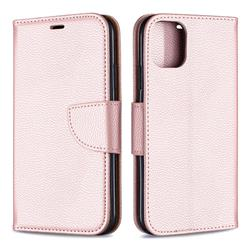 Classic Luxury Litchi Leather Phone Wallet Case for iPhone 11 - Golden