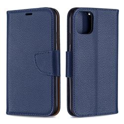 Classic Luxury Litchi Leather Phone Wallet Case for iPhone 11 - Blue