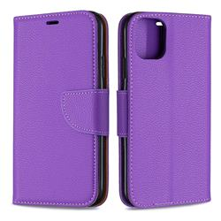 Classic Luxury Litchi Leather Phone Wallet Case for iPhone 11 - Purple