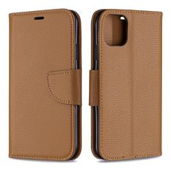 Classic Luxury Litchi Leather Phone Wallet Case for iPhone 11 - Brown
