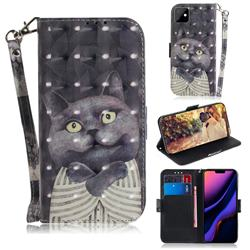 Cat Embrace 3D Painted Leather Wallet Phone Case for iPhone 11 (6.1 inch)
