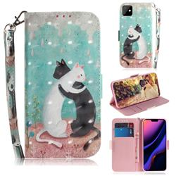 Black and White Cat 3D Painted Leather Wallet Phone Case for iPhone 11 (6.1 inch)