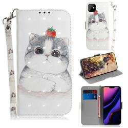 Cute Tomato Cat 3D Painted Leather Wallet Phone Case for iPhone 11 (6.1 inch)