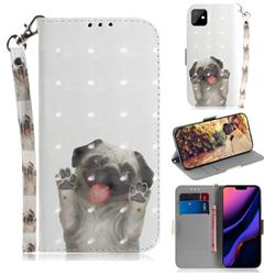 Pug Dog 3D Painted Leather Wallet Phone Case for iPhone 11 (6.1 inch)