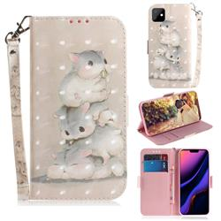Three Squirrels 3D Painted Leather Wallet Phone Case for iPhone 11 (6.1 inch)