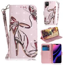 Butterfly High Heels 3D Painted Leather Wallet Phone Case for iPhone 11 (6.1 inch)