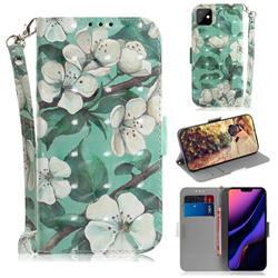 Watercolor Flower 3D Painted Leather Wallet Phone Case for iPhone 11 (6.1 inch)
