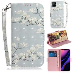 Magnolia Flower 3D Painted Leather Wallet Phone Case for iPhone 11 (6.1 inch)