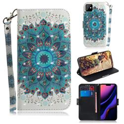 Peacock Mandala 3D Painted Leather Wallet Phone Case for iPhone 11 (6.1 inch)