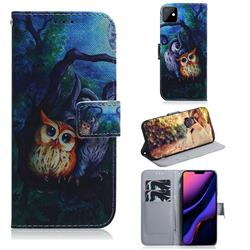 Oil Painting Owl PU Leather Wallet Case for iPhone 11 (6.1 inch)