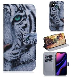 White Tiger PU Leather Wallet Case for iPhone 11 (6.1 inch)