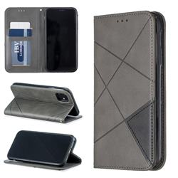 Prismatic Slim Magnetic Sucking Stitching Wallet Flip Cover for iPhone 11 (6.1 inch) - Gray