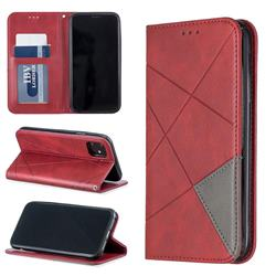 Prismatic Slim Magnetic Sucking Stitching Wallet Flip Cover for iPhone 11 (6.1 inch) - Red