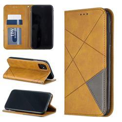 Prismatic Slim Magnetic Sucking Stitching Wallet Flip Cover for iPhone 11 (6.1 inch) - Yellow