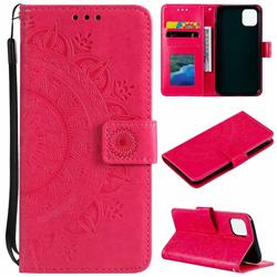 Intricate Embossing Datura Leather Wallet Case for iPhone 11 (6.1 inch) - Rose Red
