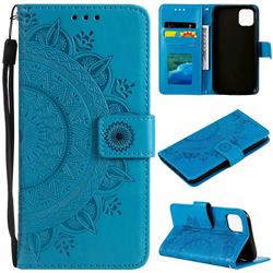 Intricate Embossing Datura Leather Wallet Case for iPhone 11 (6.1 inch) - Blue