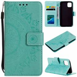 Intricate Embossing Datura Leather Wallet Case for iPhone 11 (6.1 inch) - Mint Green