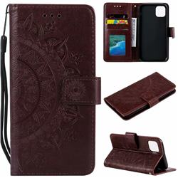 Intricate Embossing Datura Leather Wallet Case for iPhone 11 (6.1 inch) - Brown