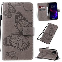 Embossing 3D Butterfly Leather Wallet Case for iPhone 11 (6.1 inch) - Gray