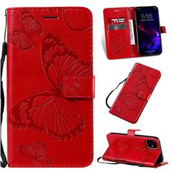 Embossing 3D Butterfly Leather Wallet Case for iPhone 11 (6.1 inch) - Red