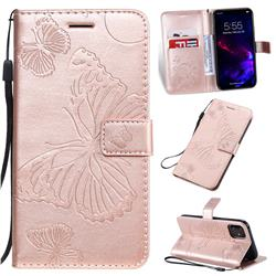 Embossing 3D Butterfly Leather Wallet Case for iPhone 11 (6.1 inch) - Rose Gold
