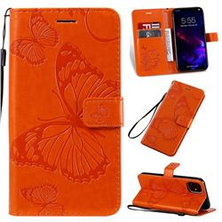 Embossing 3D Butterfly Leather Wallet Case for iPhone 11 (6.1 inch) - Orange