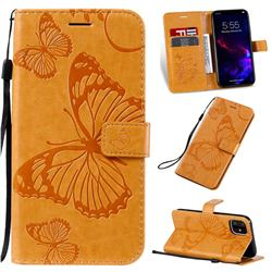 Embossing 3D Butterfly Leather Wallet Case for iPhone 11 (6.1 inch) - Yellow