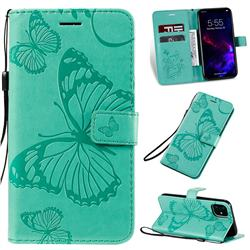 Embossing 3D Butterfly Leather Wallet Case for iPhone 11 (6.1 inch) - Green