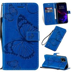 Embossing 3D Butterfly Leather Wallet Case for iPhone 11 (6.1 inch) - Blue