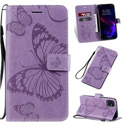 Embossing 3D Butterfly Leather Wallet Case for iPhone 11 (6.1 inch) - Purple