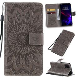 Embossing Sunflower Leather Wallet Case for iPhone 11 (6.1 inch) - Gray
