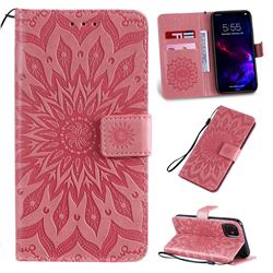 Embossing Sunflower Leather Wallet Case for iPhone 11 (6.1 inch) - Pink
