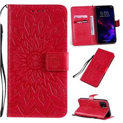 Embossing Sunflower Leather Wallet Case for iPhone 11 (6.1 inch) - Red