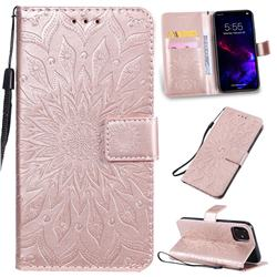 Embossing Sunflower Leather Wallet Case for iPhone 11 (6.1 inch) - Rose Gold