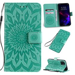 Embossing Sunflower Leather Wallet Case for iPhone 11 (6.1 inch) - Green