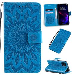 Embossing Sunflower Leather Wallet Case for iPhone 11 (6.1 inch) - Blue