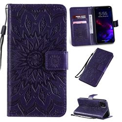 Embossing Sunflower Leather Wallet Case for iPhone 11 (6.1 inch) - Purple