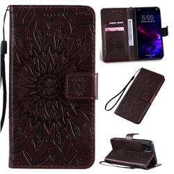 Embossing Sunflower Leather Wallet Case for iPhone 11 (6.1 inch) - Brown