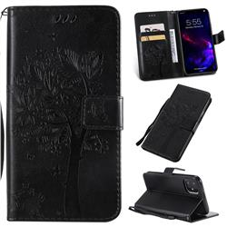 Embossing Butterfly Tree Leather Wallet Case for iPhone 11 (6.1 inch) - Black