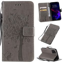 Embossing Butterfly Tree Leather Wallet Case for iPhone 11 (6.1 inch) - Grey