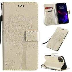 Embossing Butterfly Tree Leather Wallet Case for iPhone 11 (6.1 inch) - Champagne