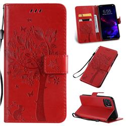 Embossing Butterfly Tree Leather Wallet Case for iPhone 11 (6.1 inch) - Red