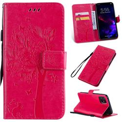 Embossing Butterfly Tree Leather Wallet Case for iPhone 11 (6.1 inch) - Rose